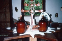 Altar table with Daime in Healing House
